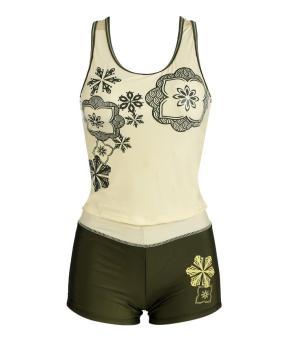 Sunwonder Women Beach Tank Tops + Sport Shorts Swimwear Swimsuit Set (Yellow) - intl
