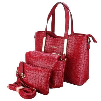 3PCS/SET Women Leather Satchel Handbag Shoulder Messenger Crossbody Bag Wallet Red - intl