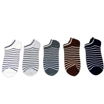 5 Pairs Men's Stripe Cotton Sock Deodorant Socks Anklets (Intl)