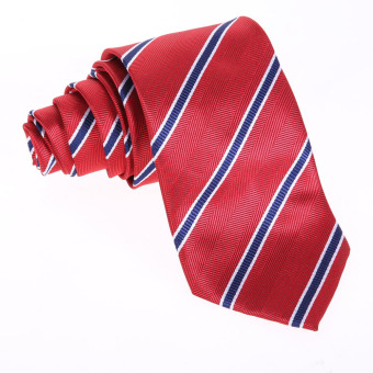New Red blue stripes Silk Tie Jacquard Woven Classic Necktie Men's Tie (Intl)
