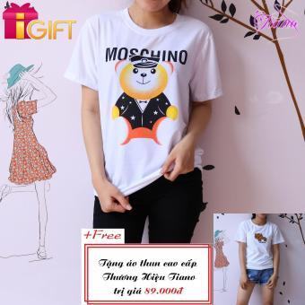 Áo Thun Nữ Tay Ngắn In Hình Gấu Moschino Cá Tính Tiano Fashion LV205 ( Màu Trắng ) + Tặng Áo Thun Nữ Tay Ngắn Thêu Hình Con Mèo Cobroo Dễ Thương Tiano Fashion