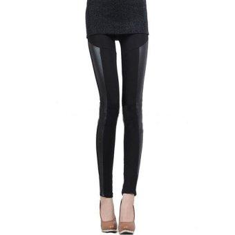 ZANZEA Womens Black Faux Leather Stretchy Leggings Ladies Shiny Pants Tights - Intl