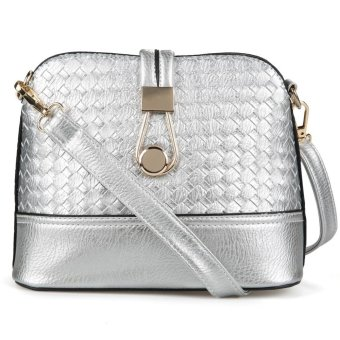 Sunweb Fashion Korean Women Synthetic Leather Shoulder Small Bag Tote Weave Pattern Clutch Handbag Purse ( Silver ) - intl