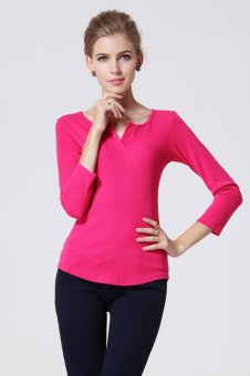 Sunweb Women's V-neck Bottoming Shirt Pure Color Tops Blouse ( Rose red ) - intl