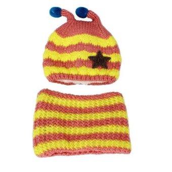 Mũ len kèm khăn cho bé lót bông tuyết ML10 (Xanh vàng)