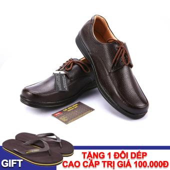 Giày tây nam công sở da thật VNL2A01N-1 + Tặng 1 đôi dép