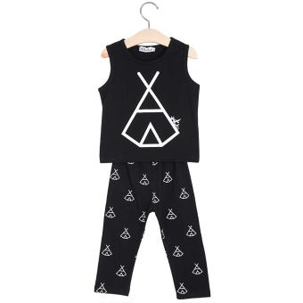 2pcs Trendy Kids Tent Printed Cotton Sleeveless Vest Trousers - intl