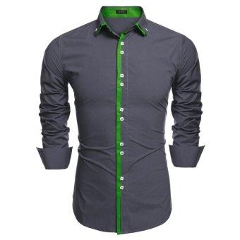 Cyber COOFANDY Men Fashion Dual Turn Down Collar Long Sleeve Solid Cotton Button Down Casual Shirts - Intl
