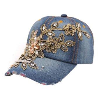 Women Diamond Flower Style Lady Jeans Hats