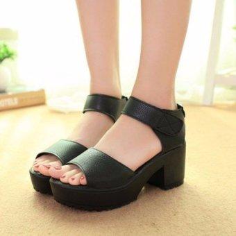 Fashion Women Summer Block Heel Creeper Sandals Ankle High Platform Shoes - intl