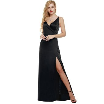 Cyber ANGVNS Women Strap Sleeveless Split Side Evening Dress Long Evening Gown - Intl - Intl