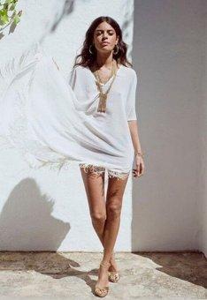 Sunweb Fashion Women's Summer Beachwear Loose Chiffon Tops Tassles Cover ups ( Red ) - intl