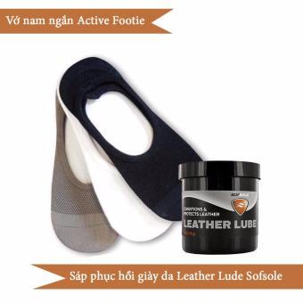Combo 3 đôi vớ nam ngắn Active Footie và sáp phục hồi chăm sóc giày da Leather Lube Sofsole