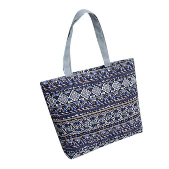 Fashion Women Girls Printing Canvas Shopping Handbag Shoulder Tote Shopper Bag Light Blue - intl