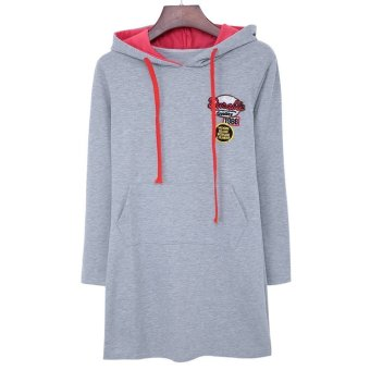 Hooded Long Sleeve Women's Dress Light Grey TC - intl