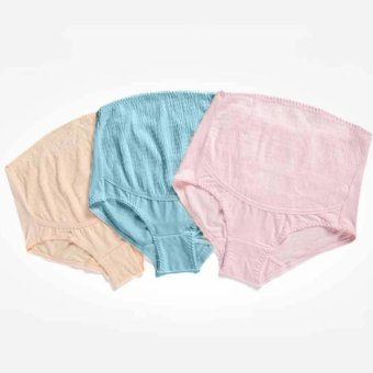 3 Pcs Maternity Underwear Panty Brief for Pregnant Women Pure Cotton High Waist Belly Support Pregnancy Clothing Bottom Pants (Pink Blue Brown) - intl