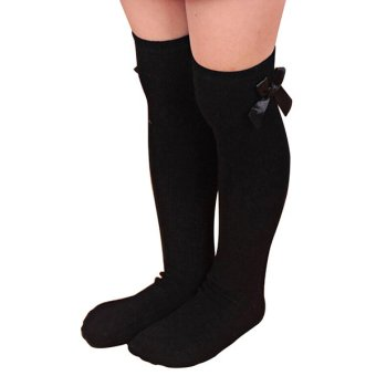 Bluelans Girls Cotton Knee Socks Kids Toddler Bowknot Striped Leg Warmers Black (Intl)