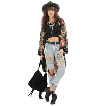 Women Black Chiffon Elegant Floral Print Outwear - intl
