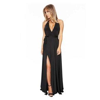 Women Long Dress V Neck Split Floor Length Sexy Qmilch Slit Dress Sleeveless Evening Party Backless Maxi Dress - intl