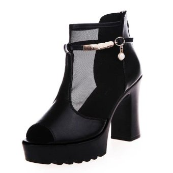 European Style Fish Head High-heeled Sandals Women Summer Sandals 2017 Sexy Shoes Woman Rome Genuine Leather Sandals - intl