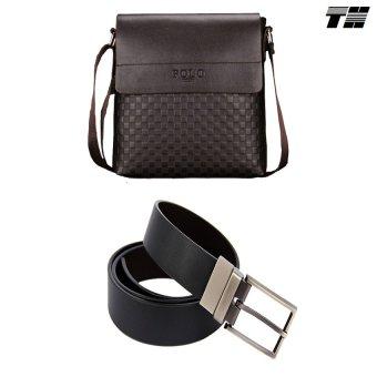 Bộ túi đeo chéo và dây lưng da nam thời trang THCB06