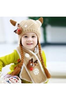 Moonar Kids Children Baby Woolen Yarn Cow Horn Hat Cap (Beige)