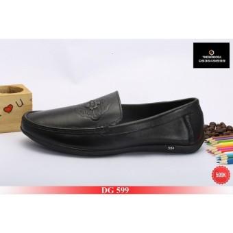 Giày lười nam moca màu đen DG599-04