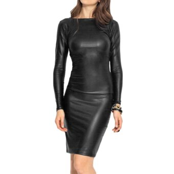 Fashion Women Mini Dress Cross Bandage Slash Neck Long Sleeve Pencil Dress Black - Intl
