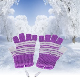 5V USB Powered Heating Heated Winter Hand Warmer Gloves Washable Cheap - intl