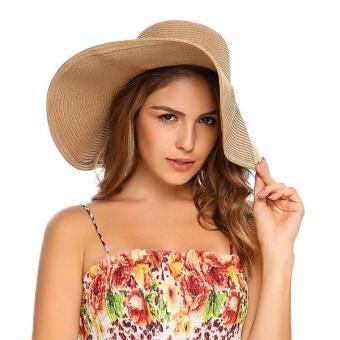 Cyber New Straw Women Packable Wide Brim Hat Sun Shade Beach Outdoor Cap ( Khaki ) - intl