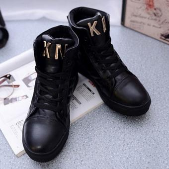 Giày bata ca rô cổ cao S296 (Đen)