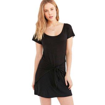 Round Neck Belt Slim Woman Dress Short Sleeve A-line Dress - Intl