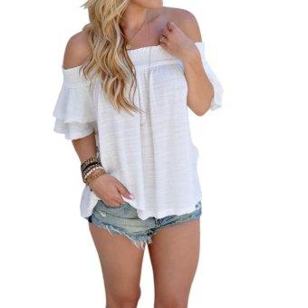 Womenexy Neck Ruffe Top Tee Off houder Beach tye Top shirt - intl