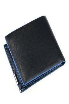 HKS Mens Leather Wallet Card Clutch Purse Pockets Bifold Money Clip Blue+Black - intl
