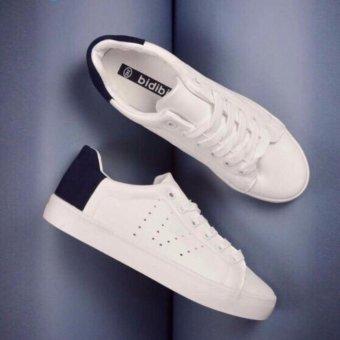 Giày sneaker nữ vá gót nỉ đẹp da mềm (trắng gót xanh đậm)