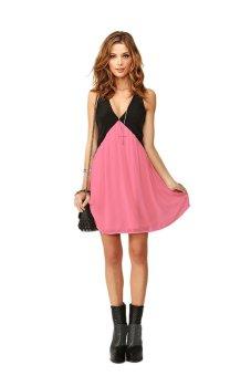 Linemart Deep V-neck Sleeveless Dress (Pink/Black) - intl