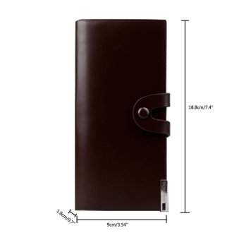 niceEshop Mens Leather Wallet Bifold Credit Card Holder With Button Closure Coffee - intl