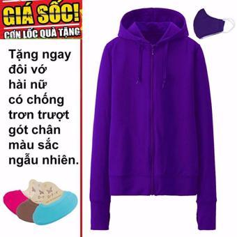Áo khoác chống nắng cotton DMA store (tím đậm) tặng 1 đôi tất chống trơn trượt và 1 khẩu trang hoạt tính