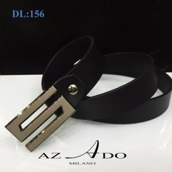 Dây lưng da bò DL:156, thời trang Azado (dây đen mặt bạc)