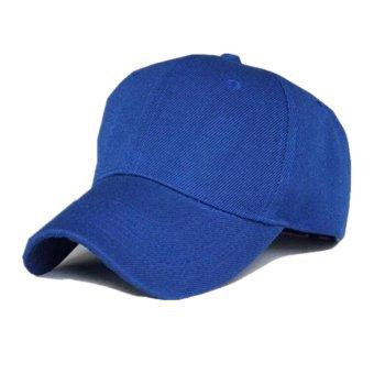 Cotton Polyester Blend Hat Men Women Solid Color Adjustable Baseball Cap(Blue) - intl