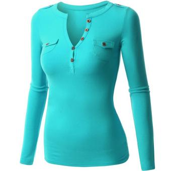 Fancyqube Women Summer Autumn Double Pocket V-collar Button Full Sleeve T-shirts Light Blue - Intl - intl
