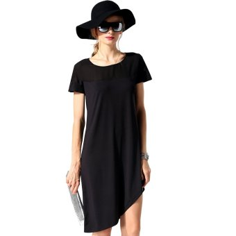 Cyber Finejo Fashion Women Patchwork A-Line Asymmetric Hem Loose Casual Dress (Black) - Intl