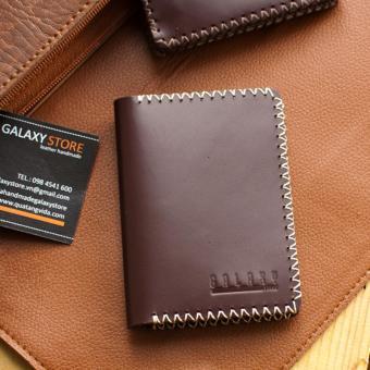 Ví Nhỏ Handmade Da Thật Galaxy Store GVM04 (Nâu đỏ) + Móc khóa da handmade Galaxy Store (Vàng)