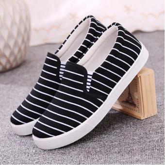 Giày nữ sọc sọc thon gọn cho đôi chân - 176 (den)