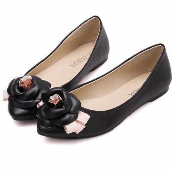 Giày búp bê đính hoa Hồng-149 (Đen)