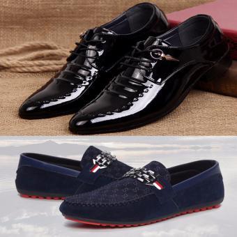 Bộ 2 sản phẩm Giày nam bóng công sở vs giày lười thời trang