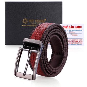 HL4278 - Dây nịt nam da cá sấu Huy Hoàng đan viền đầu kim (Nâu đỏ)