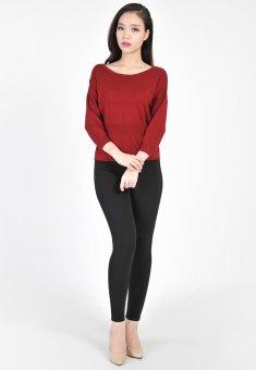 Áo len nữ chui viền ngực tay lỡ HQLens (Đỏ)
