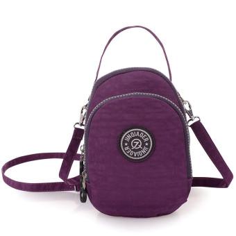 Waterproof Nylon Handbag Shoulder Diagonal Bag Messenger Bag Purple - Intl