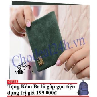Ví cầm tay vuông nhỏ nhắn cho nữ CDVN02 (xanh rêu) + Tặng kèm balo du lịch gấp gọn